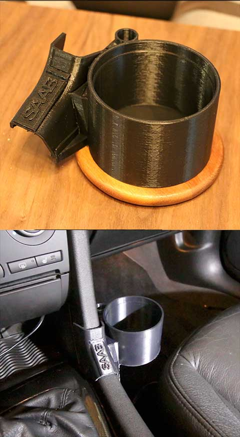 Center console 3d printed Saab 9-3 Cup holder